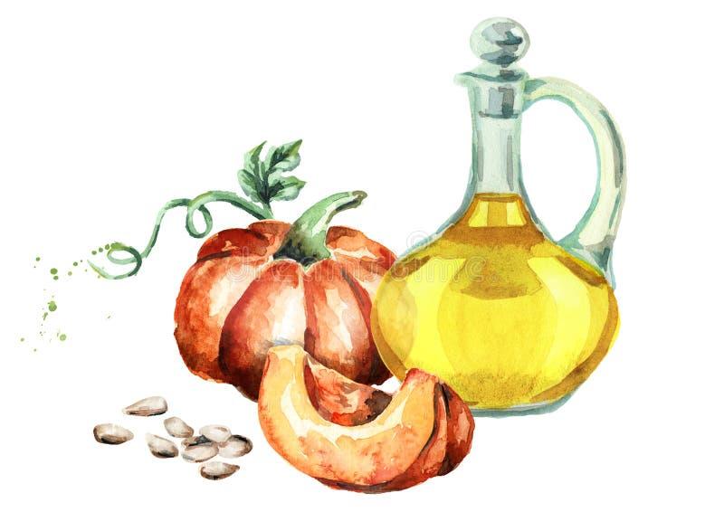 Petróleo de germen de calabaza watercolor libre illustration