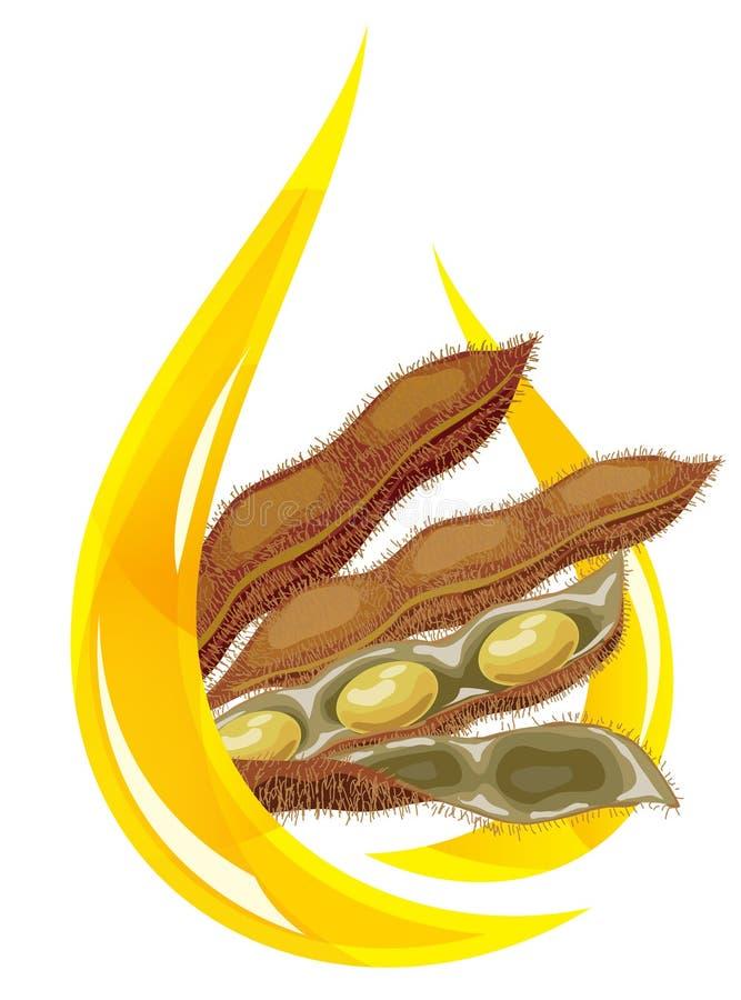 Petróleo de soja. Gota estilizada de la vaina del petróleo y de la soja. libre illustration