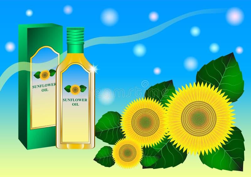 Petróleo de Unflower Girassóis e garrafa de vidro do óleo, imagem realística bonita para anunciar ilustração royalty free