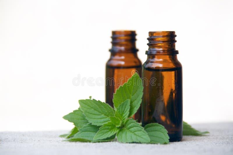Petróleo do aroma em uns frascos com hortelã fotos de stock