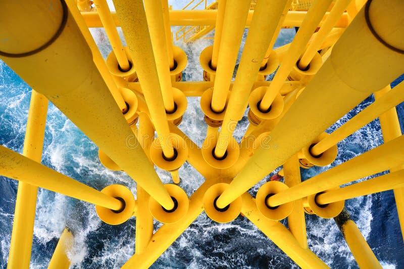 Petróleo e gás produzindo os entalhes na plataforma a pouca distância do mar, a plataforma na condição de mau tempo , Indústria d fotos de stock royalty free