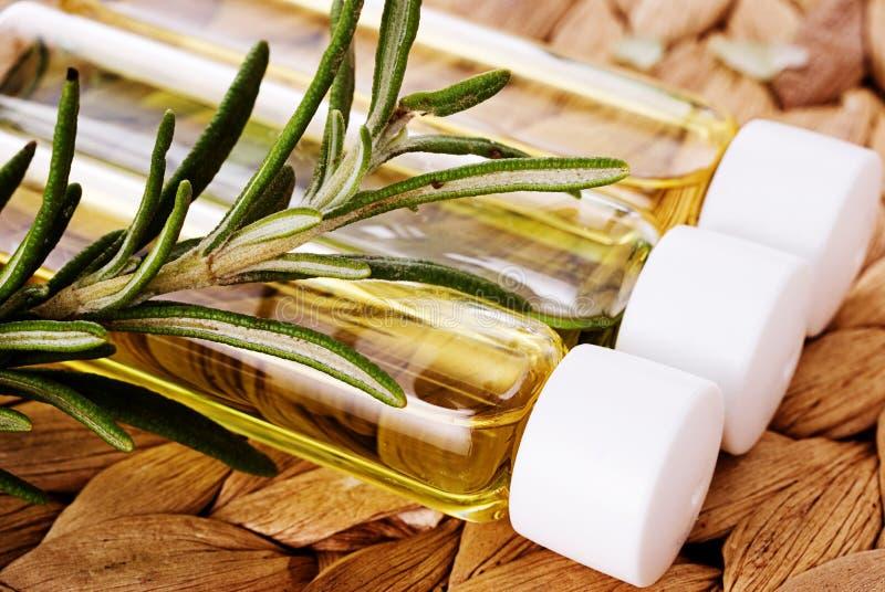 Petróleo orgânico com close up do rosemary fotos de stock royalty free