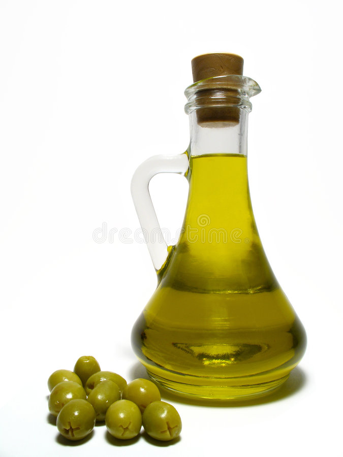 Petróleo verde-oliva e azeitona foto de stock