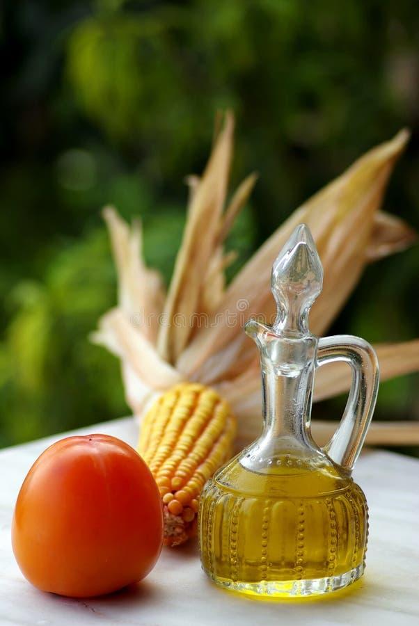 Petróleo verde-oliva e vinagre e Frui imagem de stock