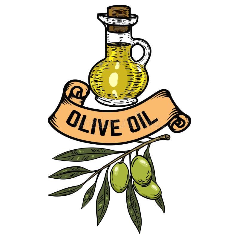 Petróleo verde-oliva virgem extra Olive Branch Projete o elemento para o emblema, sinal, crachá, etiqueta Ilustração do vetor ilustração do vetor