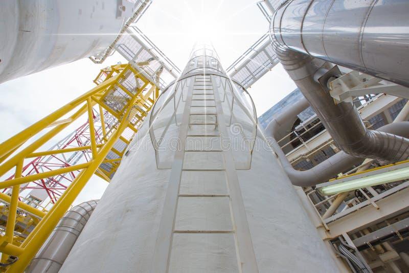 Petróleo y gas costero que procesa la plataforma, una parte de procesar la plataforma, proceso de la deshidratación para quitar l imagen de archivo libre de regalías