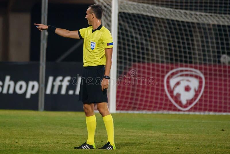 Petr Ardeleanu, football referee, during UEFA NATIONS LEAGUE game. 16.10.2018. RIGA, LATVIA. Petr Ardeleanu, football referee, during UEFA NATIONS LEAGUE game royalty free stock photos
