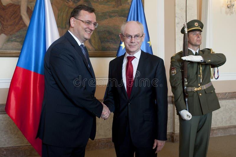 Petr Necas en Herman Van Rompuy stock afbeeldingen