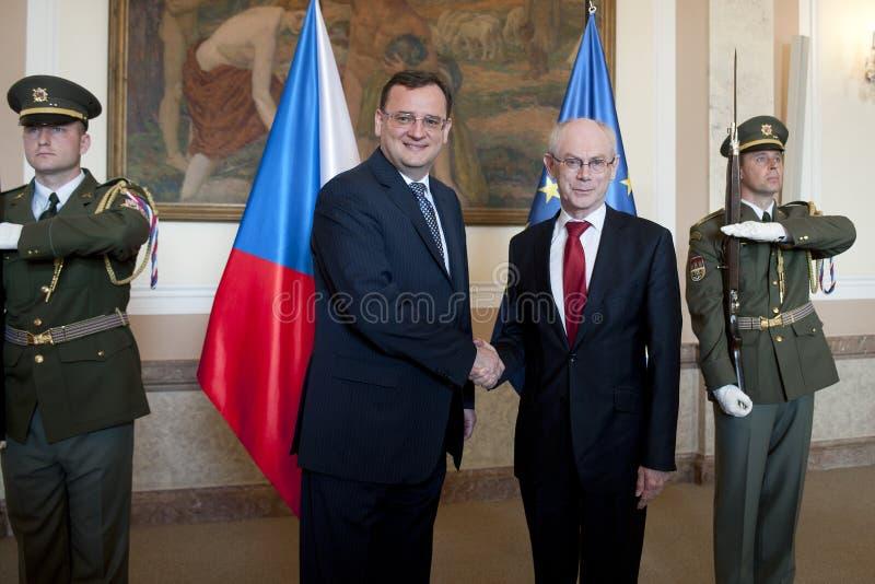 Petr Necas en Herman Van Rompuy stock afbeelding