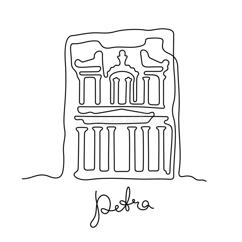 Petra continuous line vector illustration royalty free illustration