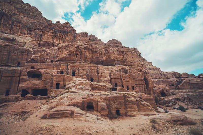 Petra - en forntida stad, huvudstaden av Edomitesen, Edomae, senare huvudstaden av det Nabataean kungariket Unesco-världsarv arkivfoto