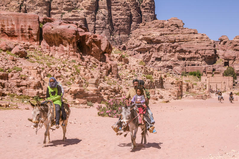 PETRA, GIORDANIA - 30 APRILE 2016: Beduino sugli asini fotografie stock