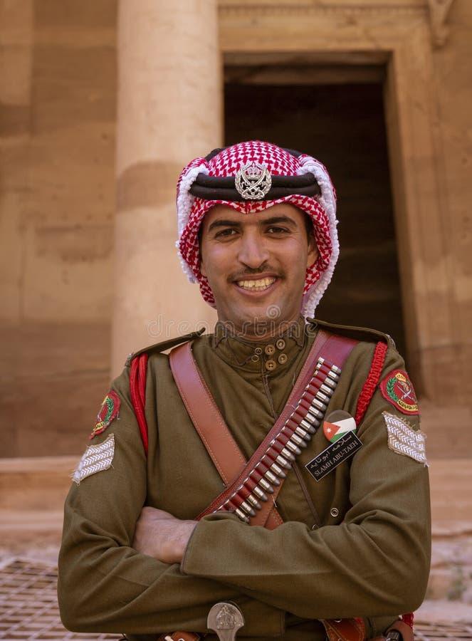 Petra, Jordan - 2019-04-21 - Friendly Jordanian Guard Keeps the Peace in Petra royalty free stock photography