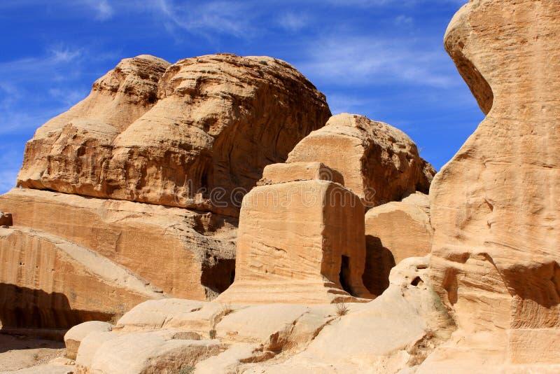 Petra in Jordan. Rock formations in the nabatean city of Petra in Jordan royalty free stock photography
