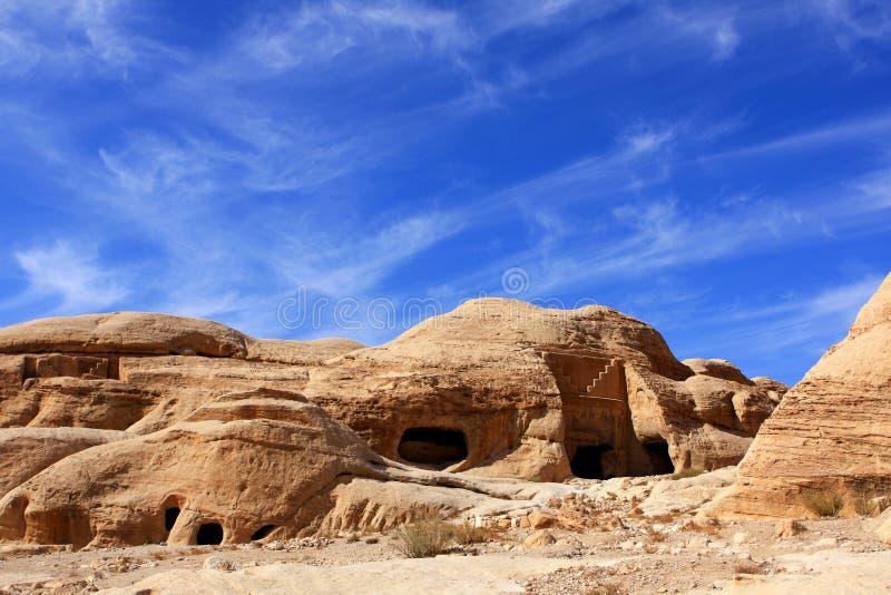 Petra in Jordan. Rock formations in the nabatean city of Petra in Jordan royalty free stock image