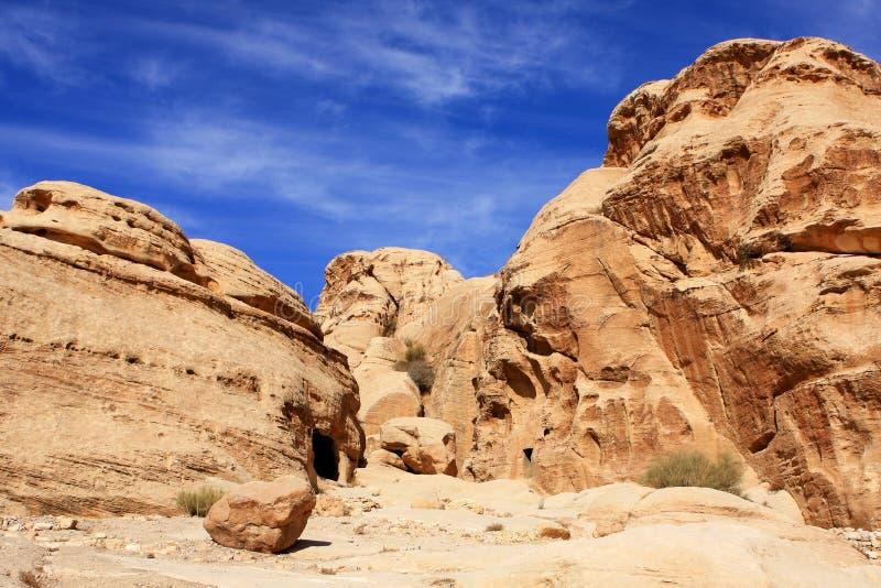 Petra in Jordan. Rock formations in the nabatean city of Petra in Jordan royalty free stock images