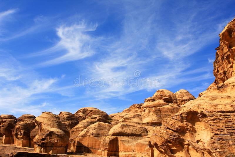 Petra in Jordan. Rock formations in the nabatean city of Petra in Jordan royalty free stock photos