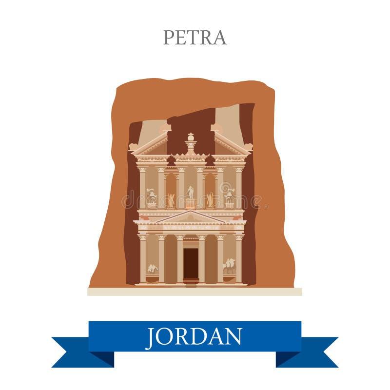 Petra in Jordan vector flat attraction landmarks. Petra in Jordan. Flat cartoon style historic sight showplace attraction web site vector illustration. World vector illustration