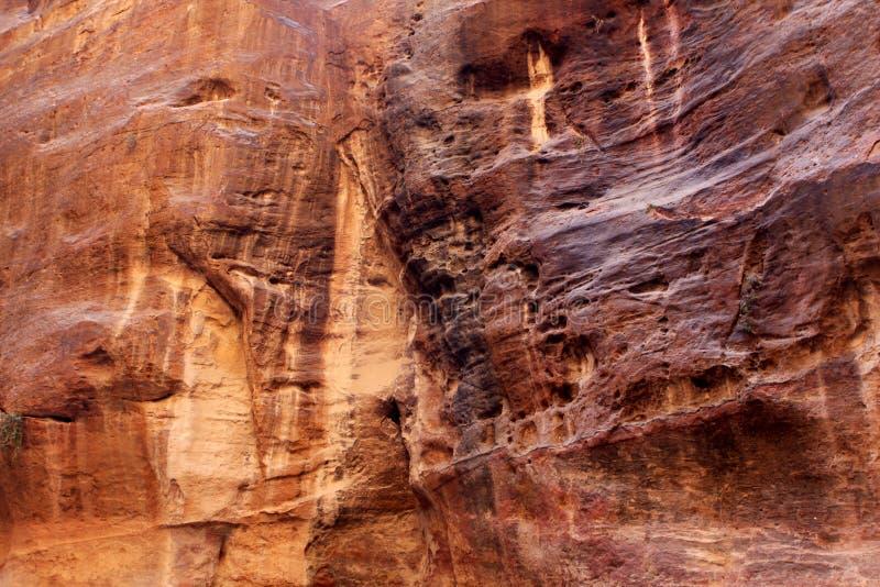 Petra in Jordan. The walls of the Siq, narrow passage that leads to Petra, Jordan stock photo