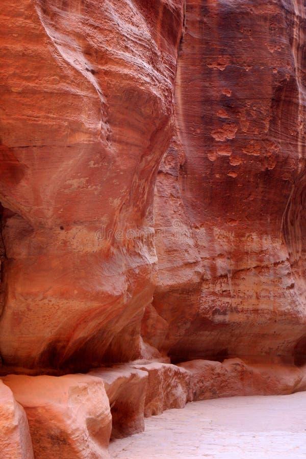 Petra in Jordan. The walls of the Siq, narrow passage that leads to Petra, Jordan stock image