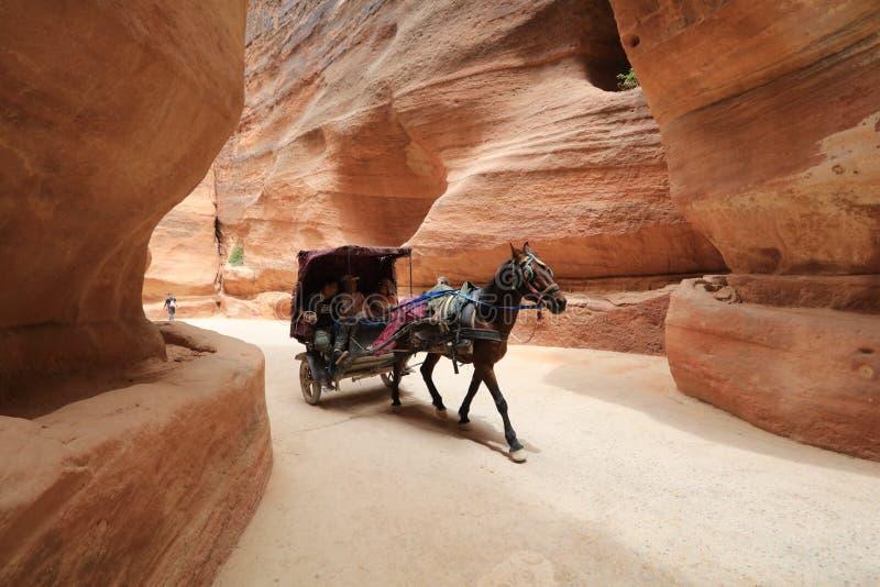 PETRA - Jordanien, ein vor- römischer historischer Unterschlupf lizenzfreie stockfotos