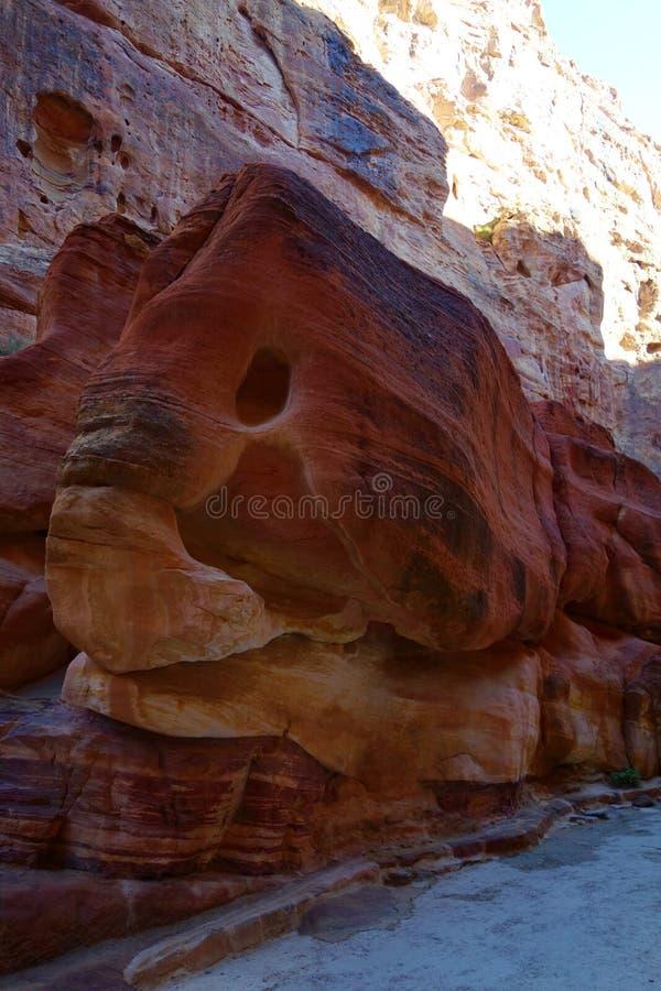 Petra Jordanien - elefanten vaggar skulptur i den Siq kanjonen, som går till den forntida staden av Petra, Wadi Musa, Mellanösten arkivbilder