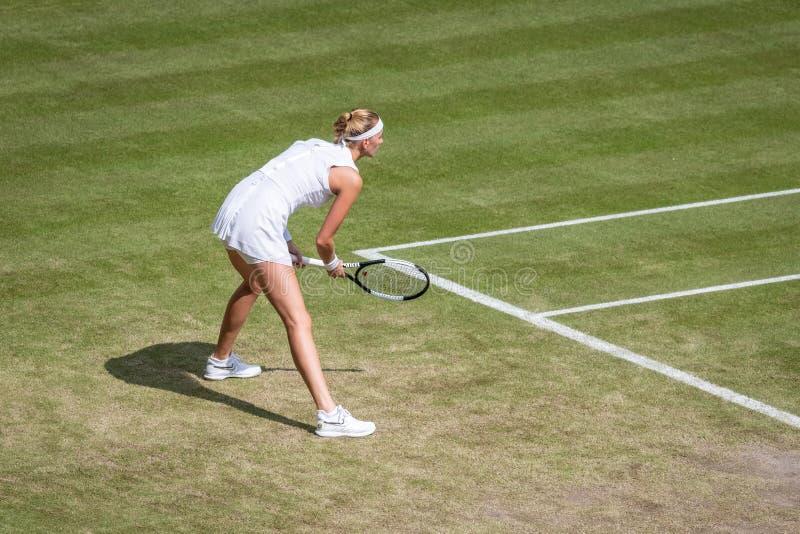 Petra Kvitova på Wimbledon royaltyfria foton