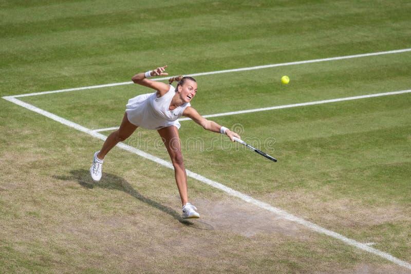 Petra Kvitova på Wimbledon royaltyfri foto
