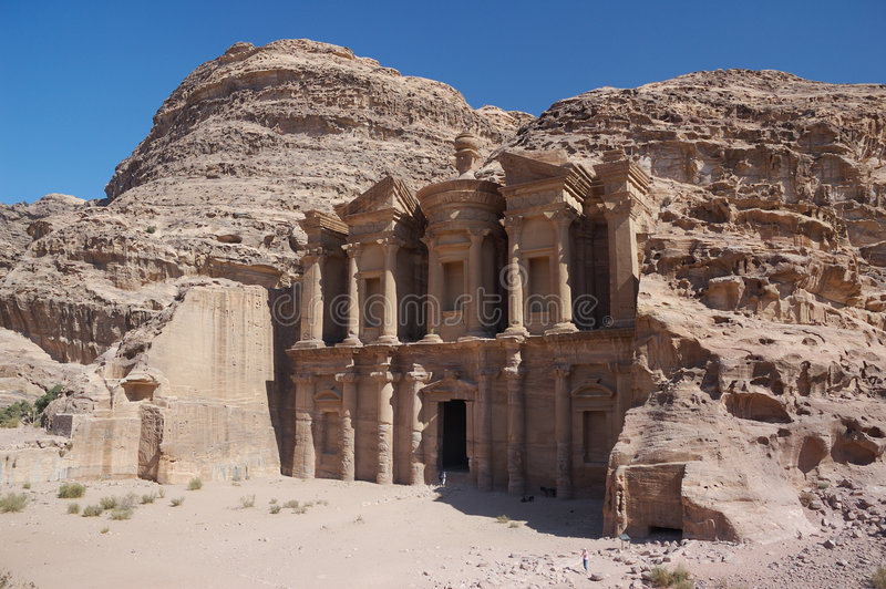 Petra the monastery stock photo