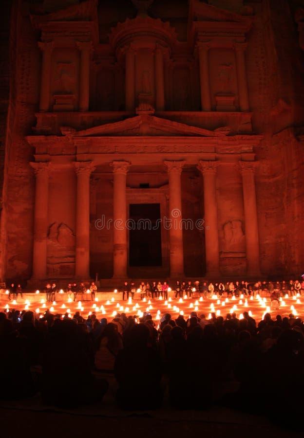 Petra by night. Treasury at Petra Jordan lit by candle royalty free stock photo