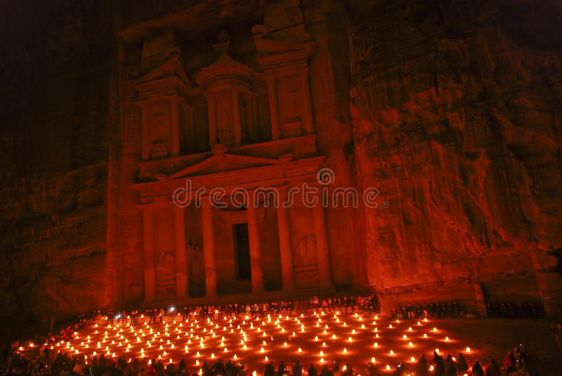 Petra by night. The show of Petra by night happens twice a week in Petra royalty free stock images