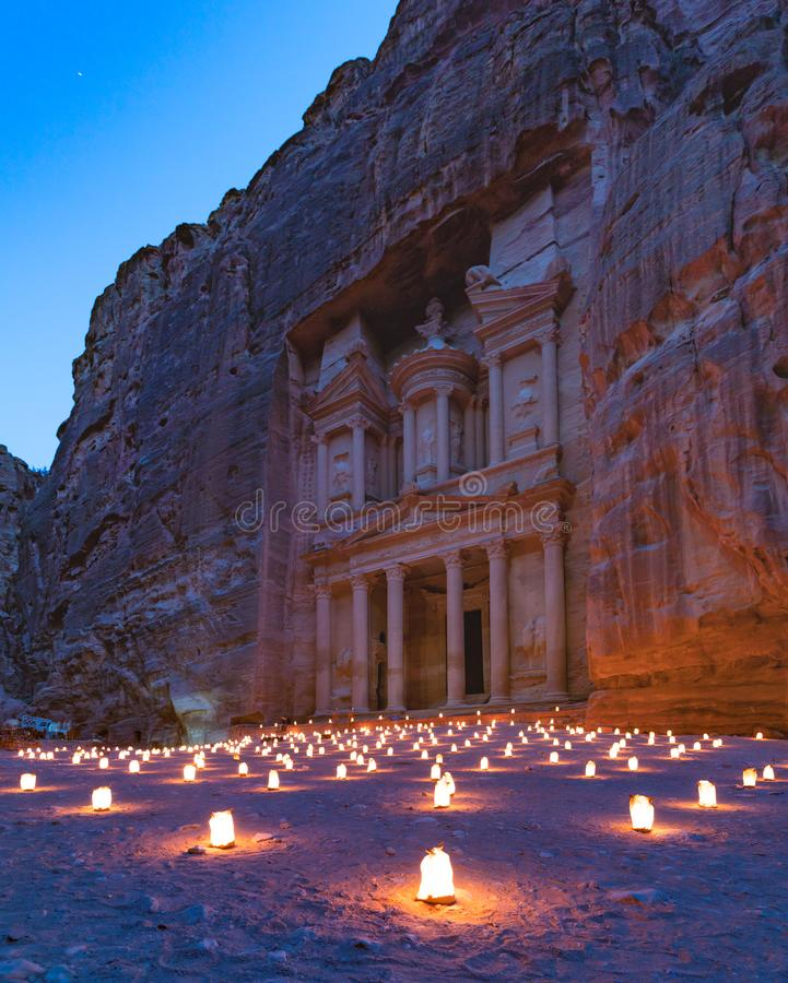 Petra By Night I royalty-vrije stock afbeeldingen