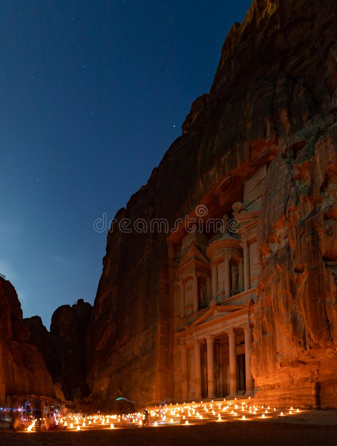 Petra By Night III stock foto's