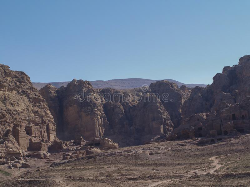 Petra  Raqmu - ιστορικές καταστροφές της αρχαίας, πόλης βράχου του Nabatean Arabians Βρίσκεται στη νοτιοδυτική Ιορδανία Είναι επί στοκ φωτογραφίες