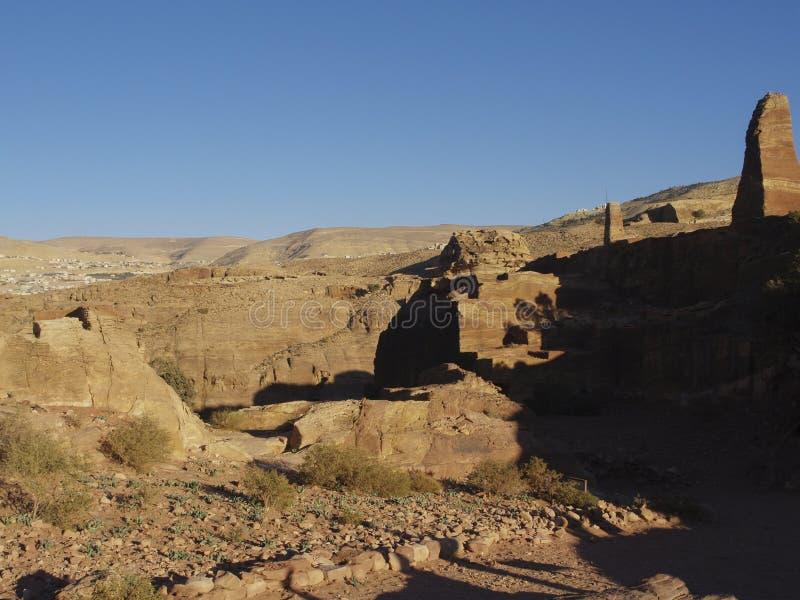 Petra  Raqmu - ιστορικές καταστροφές της αρχαίας, πόλης βράχου του Nabatean Arabians Βρίσκεται στη νοτιοδυτική Ιορδανία Είναι επί στοκ φωτογραφία