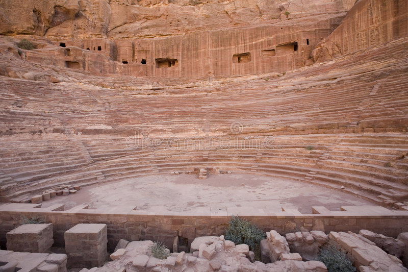 petra romana Jordan amfiteatru zdjęcia stock