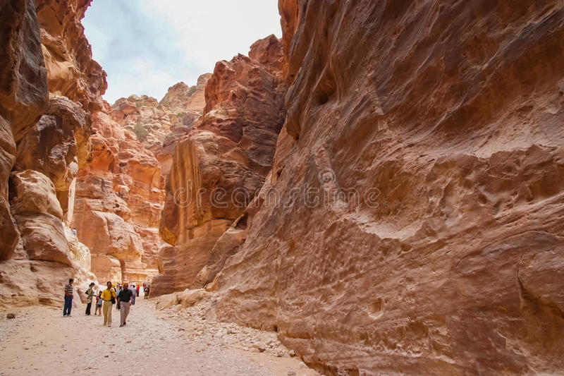 Petra siq在约旦 免版税库存图片