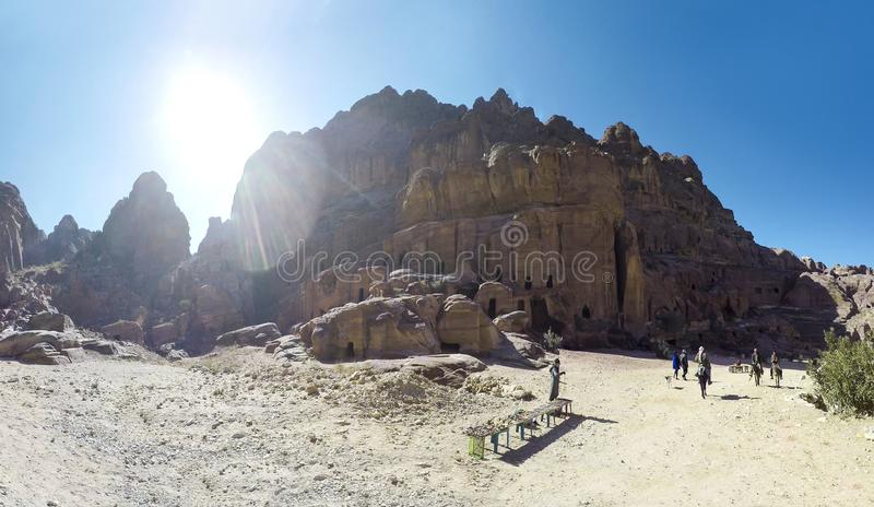 Petra it is a symbol of Jordan, as well as Jordan`s most-visited tourist attraction. Petra has been a UNESCO World Heritage Site since 1985, panorama stock photography