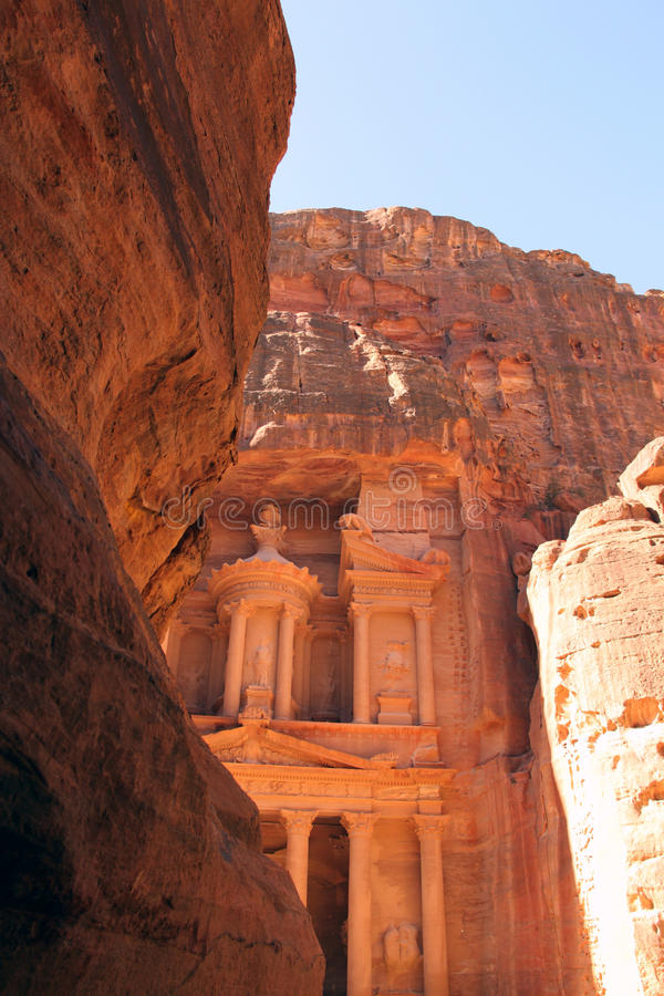 Petra-Treasury. The Treasury was probably constructed in the 1st century BC. As its design has no precedent in Petra, it is thought that it was carved by Near stock images