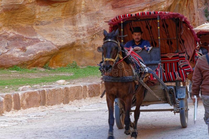 Petra, Wadi Musa, Jordanië, 9 Maart 2018: Een bus voor toeristen met een koetsier en een paard verlaat Siq van Petra en aandrijvi stock fotografie