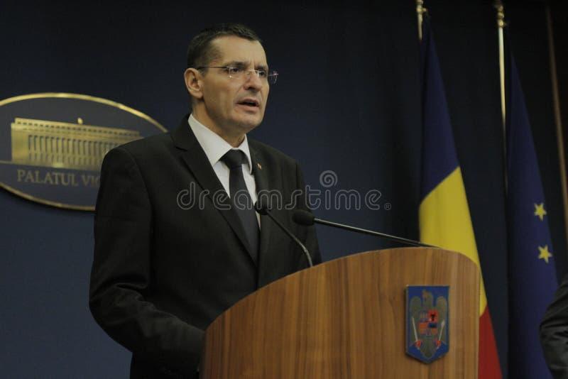 Petre Toba, ministro della conferenza stampa di affari interni fotografie stock