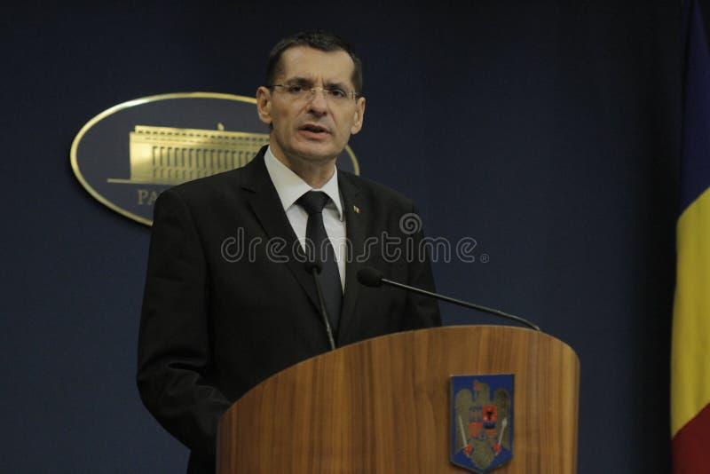 Petre Toba, ministro della conferenza stampa di affari interni immagini stock