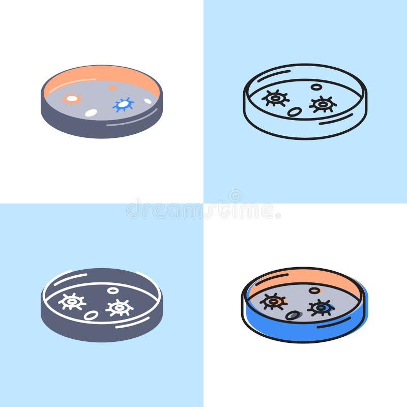 Petri εικονίδιο πιάτων που τίθεται στο επίπεδο και ύφος γραμμών απεικόνιση αποθεμάτων