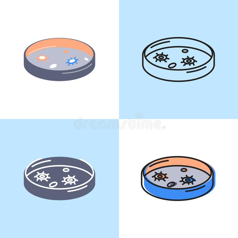 Petri dish icon set in flat and line style stock illustration