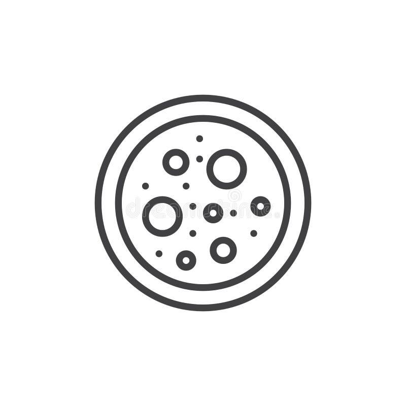 Petri maträtt med bakterieöversiktssymbolen stock illustrationer