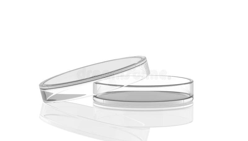 Petri maträtt som är öppen med reflexionen, laborat royaltyfri illustrationer