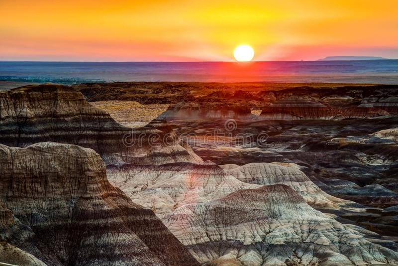 Petrified Forest National Park. The badlands at sunrise in Petrified Forest National Park royalty free stock photos