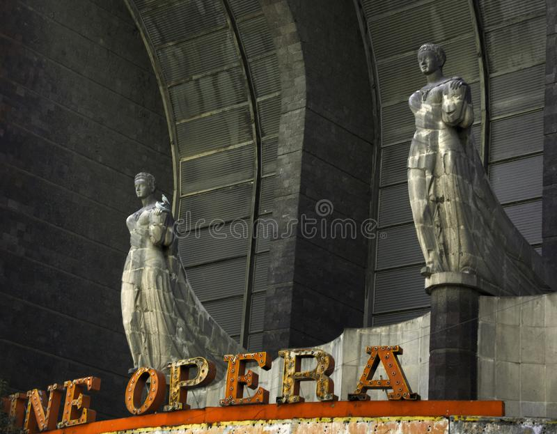 A petrified opera. Sculptural facade of the old and now abandoned `Cine Opera` in the Colonia San Rafael in Mexico City stock photo