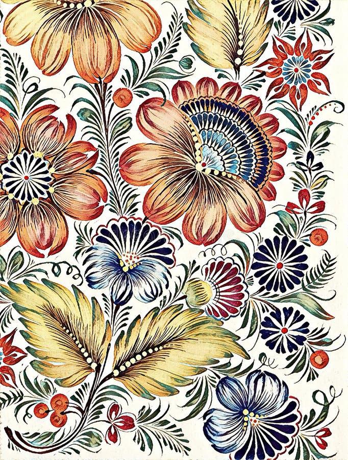 Petrikovka ` s绘的风格化prizma过滤器 与叶子的五颜六色的绘画花 传统乌克兰绘画 向量例证