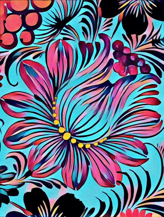 Petrikovka-` s Malerei Bunte Malereiblume mit Blättern Traditionelle ukrainische Malerei lizenzfreie abbildung